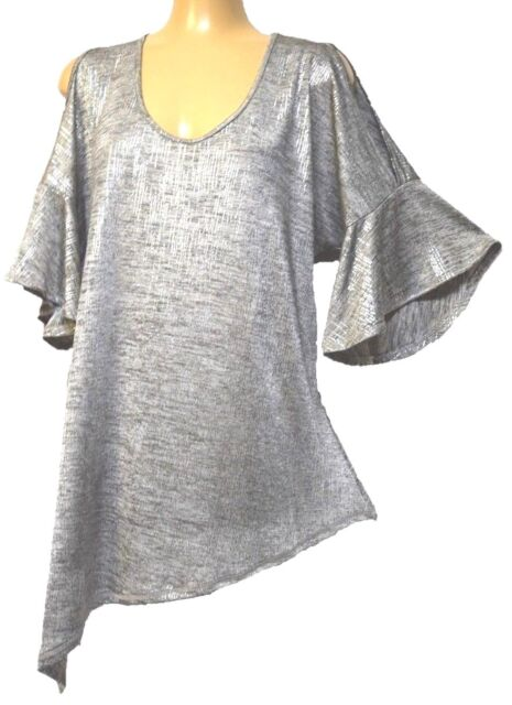 TS top TAKING SHAPE plus sz M / 18 -20 Shimmer Tunic stretchy cold shoulder NWT!