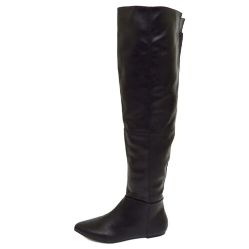 Womens Girls Faux Leather Black Over The Knee Casual Formal Clubbing Boots 3-7