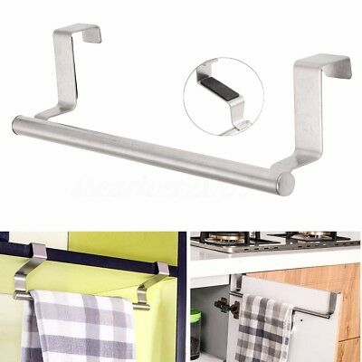 Stainless Steel Hook Door Towel Bar Holder Kitchen Bathroom Cupboard Rack Hanger