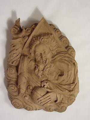Alte Große Holzfigur Relief Massiv / Handarbeit / 18-19 Jh.