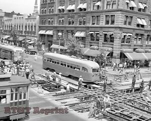 Photograph-Streetcars-During-Street-Repair-Washington-DC-Year-1941-8x10