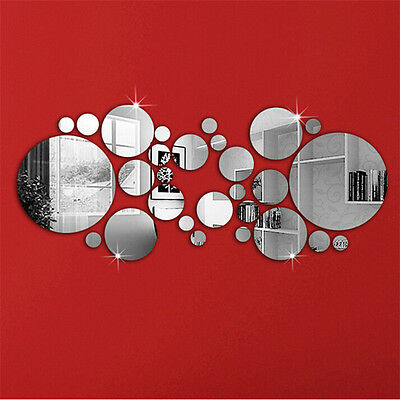 30PC Circles Mirror Silver Removable Decal Art Mural Wall Sticker Home Decor DIY
