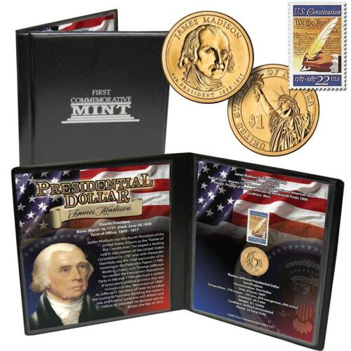 24 k gold Dollar  James madison Presidential Coin and Stamp Set case sep 17 1987