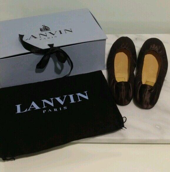 LANVIN NIB Brown Satin Leather Ballet Flat 37.5 w  Box Dustbag RARE