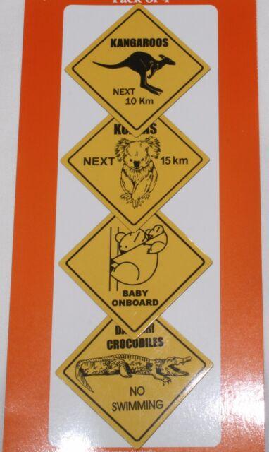 SET of 4 AUSTRALIAN ROAD SIGN FRIDGE MAGNETs NEW freezer Australia aussie koala