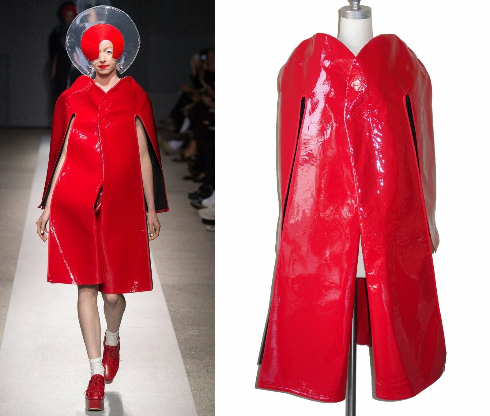 JUNYA WATANABE Comme des Garcons  NWT Runway Red Vegan Leather Cape Coat S