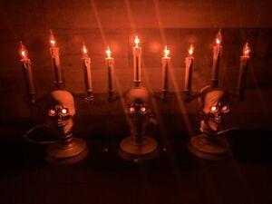 Vintage-Trendmasters-HallowScream-Haunted-Halloween-Skull-Head-Candleabra-1994