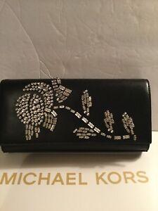 Michael-Kors-Bellamie-Embellished-Leather-Large-East-West-Clutch-Black-NEW-278