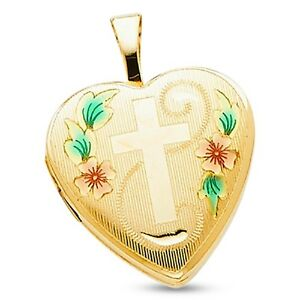 14k Yellow Gold Heart Locket Pendant Charm