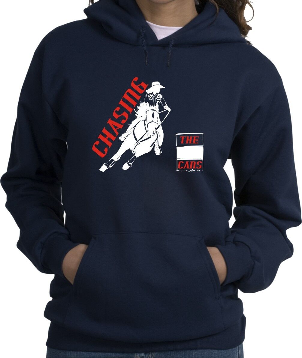 Barrel Chasing the Cans Horse & Rider Hooded Sweatshirt Multiple colors & Sizes