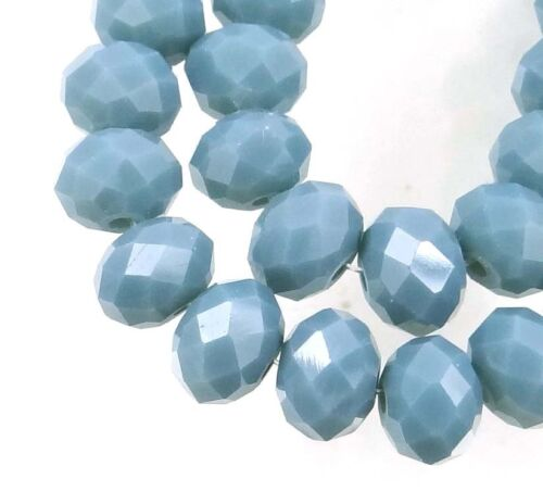 Opaque Montana Blue 25 Czech Glass grey Faceted Rondelle Beads gray 8mm