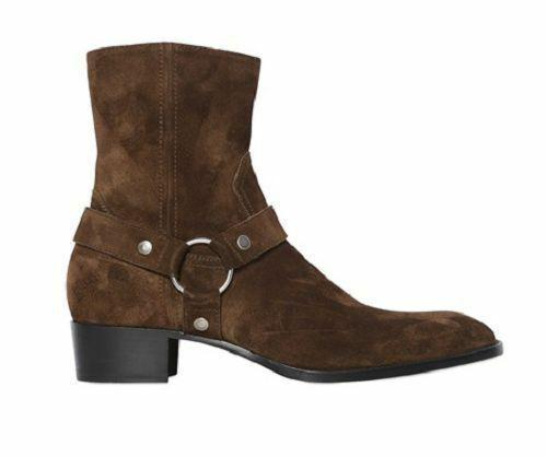 botas para hombre hecho a mano de cuero de alta ante Marrón Tobillo Cremallera Lateral Formal Zapatos de desgaste