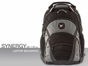 53ce38a6d2e Image is loading Swissgear-Synergy-16-inch-Laptop-Backpack-Black-Grey-