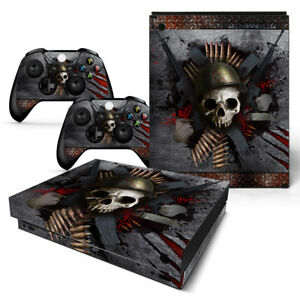 Xbox One X Skull Skin Sticker Console Decal Vinyl Xbox One Controller Video Game Accessories Faceplates, Decals & Stickers