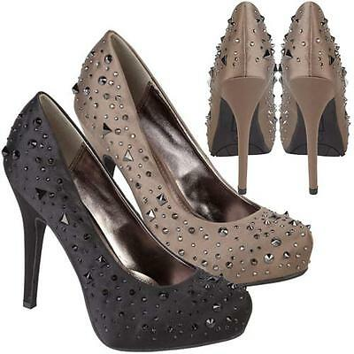 LADIES WEDDING SHOES WOMENS HIGH HEELS PARTY FANCY EVENING PLATFORM STUDDED SIZE