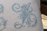 Vintage French Linen Monogrammed Cushion All Initials