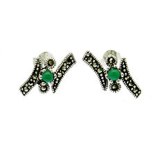Marcasite Earrings Green Agate Stud on Sterling Silver