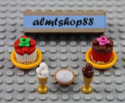 7 pcs Dessert Lot Chocolate Cake Pie Tart Ice Cream Plate Food Minifigure LEGO