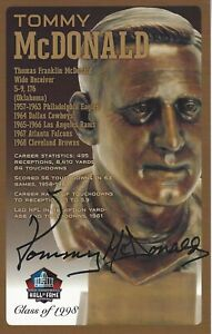 Tommy McDonald Philadelphia Eagles  Football Hall Of Fame Autographed Bust Card