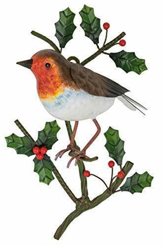 Fountasia Christmas Robin on a Holly Branch Wall Art Garden Decoration