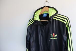 Détails sur Rare Adidas Chile '62 hooded tracksuit Jacket | Black Neon Yellow S Wet look