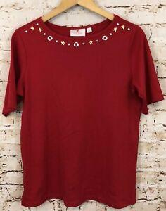 Quacker-Factory-shirt-womens-medium-top-red-short-slv-rhinestone-boat-neck-C4