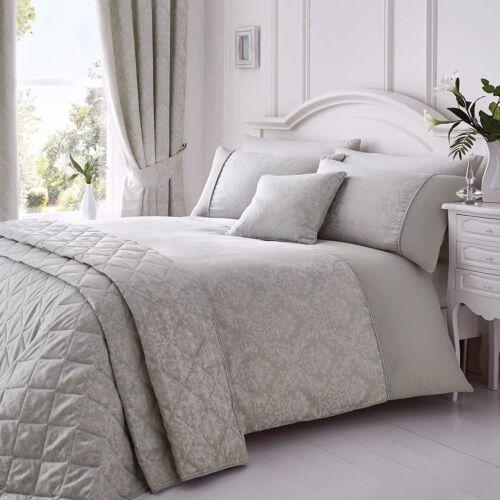 Serene Laurent Damask Jacquard King Size Bed Set Duvet Quilt Cover /& Pillowcases