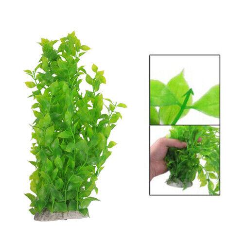 40cm Plastic Green Leaves Water Plants Decoration for Fish Tank Aquarium L4V5