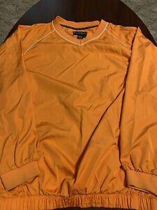 FootJoy-FJ-Orange-V-Neck-Windbreaker-Pullover-Golf-Jacket-Mens-Extra-Large-XL