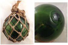 Antique Nautical Hand Blown Fishing Buoy Float Net Green Glass Seal Button 2Mark