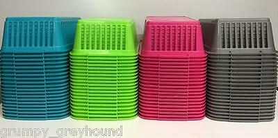 5 x Whitefurze Handy Basket Storage Office Home Grey Pink Green Teal Clear 25CM