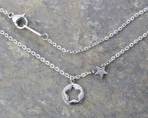 N85-5-Halskette-Edelstahl-Silber-Anhaenger-Stern-Damen-Necklace-Star-Pendant