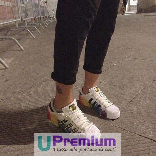 Scarpe Superstar 2018 Customizzato Schizzi prodotto Colorati Borchiate Adidas 0q7wPP