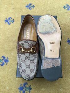 Gucci-Womens-Shoes-Brown-Monogram-Canvas-Horsebit-Loafers-UK-3-US-5-EU-36-Ladies