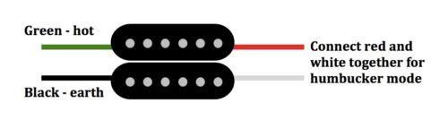 Stratocaster twin rail 4 wire dual coil Strat blade humbucker pickup AlNiCo 5