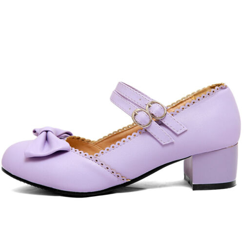 Details about  /Women/'s Girls Mary Jane Cute Sweet Bow Lolita Round Toe Square Heel Pumps Shoes