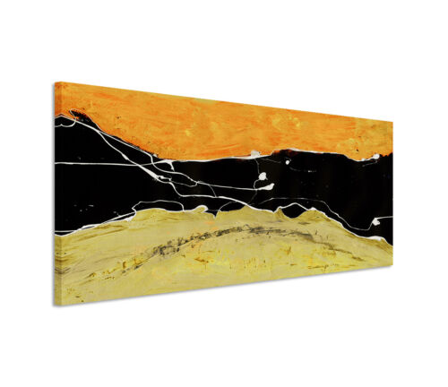 Leinwandbild Panorama orange grün schwarz weiß Paul Sinus Abstrakt/_655/_150x50cm