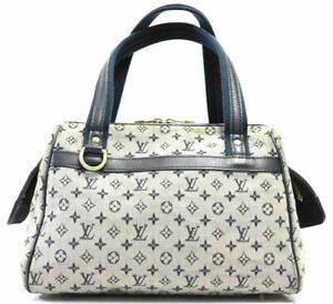 Louis-Vuitton-Canvas-Monogram-Mini-Lin-Josephine-PM-Tote-Hand-Bag-Navy-Auth