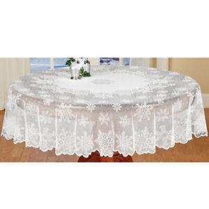 Blanc de Flocon de neige Nappe ronde dentelle table de Noël Fête De Mariage 178 cm
