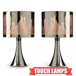 new modern pair of silver chrome city scene touch dimmer. Black Bedroom Furniture Sets. Home Design Ideas