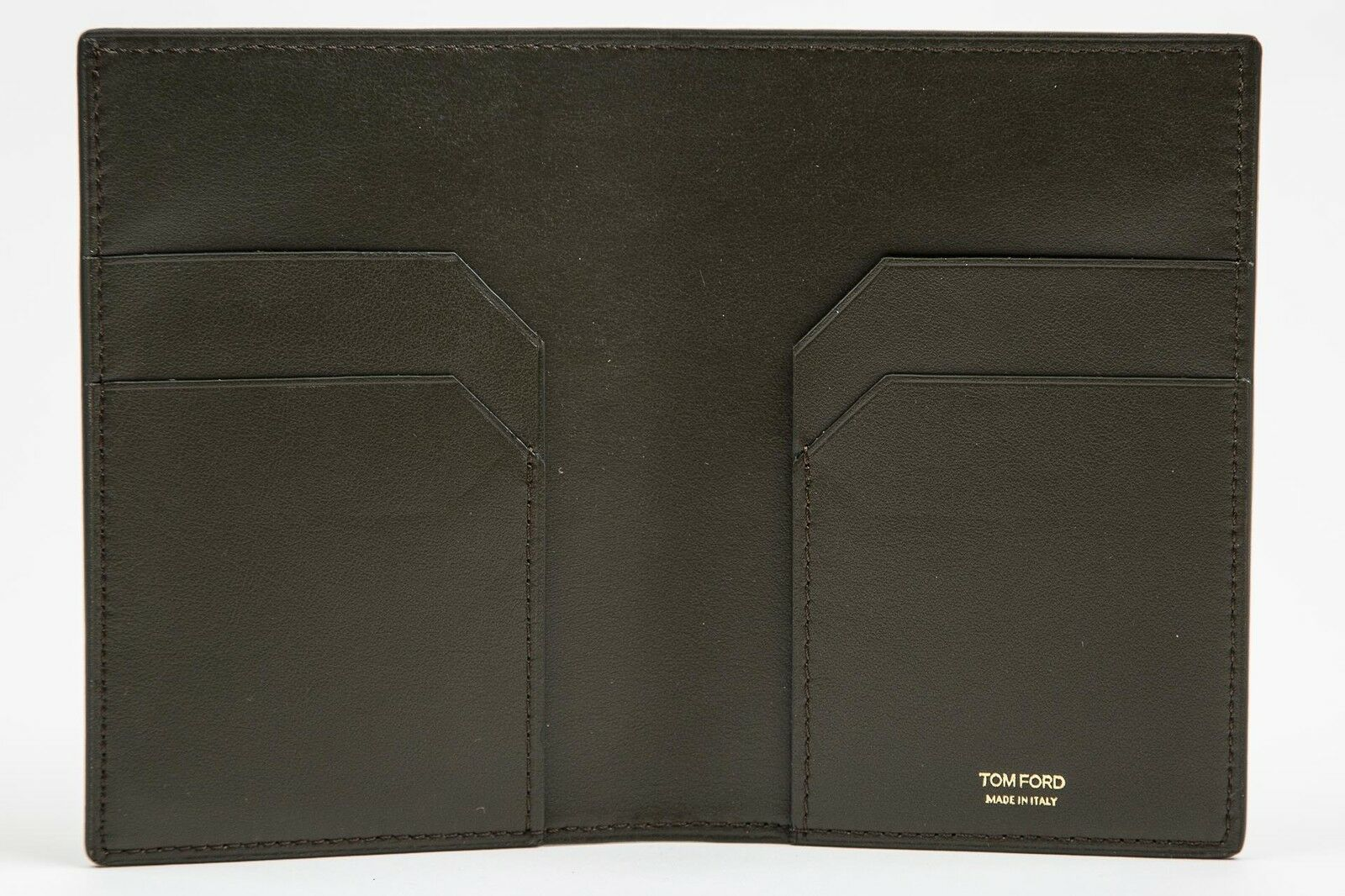 Tom Ford Dark Green Smooth NWT 100% Calf Leather Bifold Wallet Card Holder