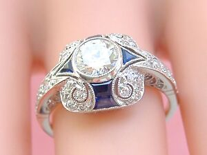 ART DECO STYLE .63ct DIAMOND SAPPHIRE PLATINUM ENGAGEMENT COCKTAIL CUSHION RING