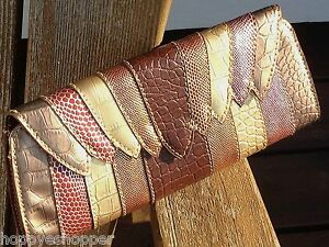 Chinese-Laundry-Multi-Snake-Clutch-Stripes-Magnetic-Metallic-Brown-Gold-Red-New