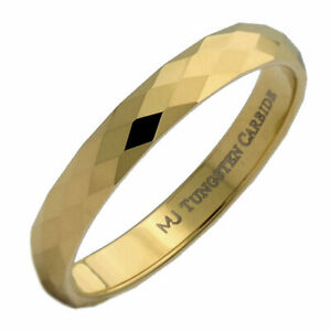 3mm Gold Plated Honeycomb Diamond Pattern Tungsten Carbide Wedding Ring