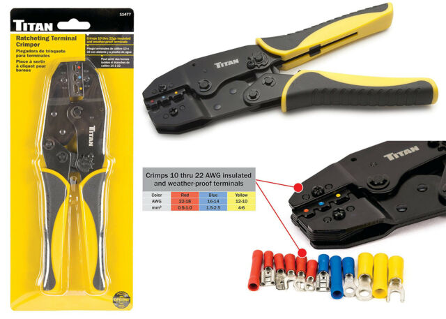 New Free Shipping Titan 11477 Ratcheting Wire Terminal Crimper