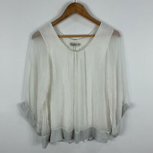 Viola-Borghi-Italy-Silk-Womens-Top-Size-Small-White-Long-Sleeve-Round-Neck
