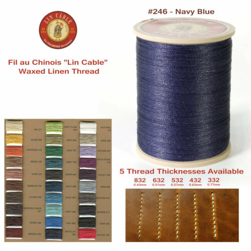 "5 sizes avail Fil Au Chinois 50g /""Lin Cable/"" WAXED LINEN thread #246 NAVY BLUE"