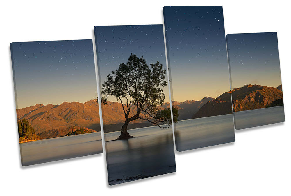 New Zealand Lake Wanaka Framed MULTI CANVAS PRINT Wall Art