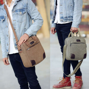 d92ffaf2b4e Men s Canvas Cross Body Bag Messenger Shoulder Book Bags School ...