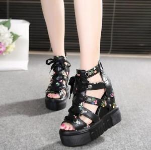 Womens-Open-Toe-Lace-Up-Hollow-Floral-High-Wedge-Heels-Platform-Roman-Sandals